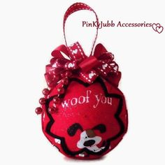 i woof you quilted valentine's day red heart ornament by PinKyJubb, $16.00