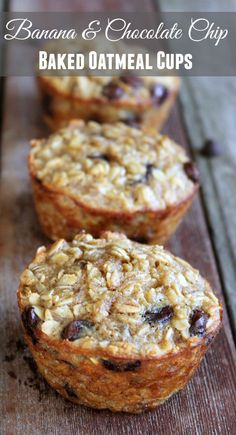 Banana and Chocolate Chip Baked Oatmeal Cups. Healthy make-ahead breakfast recipe.