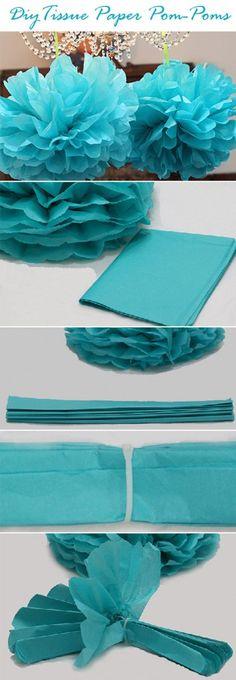 diy tissue paper pom poms wedding flower ideas