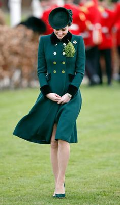 Catherine Duchess of Cambridge attends the annual Irish Guards St Patrick's Day Parade at Cavalry Barracks on March 17 2017 in London England