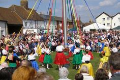Maypole dancing at the Downton Cuckoo Fair. near to Downton, Wiltshire