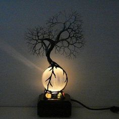 Full Moon rising Wire Tree Of Life Ancient Spirit by CrowsFe.- Full Moon rising Wire Tree Of Life Ancient Spirit by CrowsFeathers – Full Moon rising Wire Tree Of Life Ancient Spirit by CrowsFeathers – - Night Light, Light Up, Steampunk Interior, Steampunk Bedroom, Tree Lamp, Wire Trees, Unique Lamps, Modern Lamps, Tree Of Life