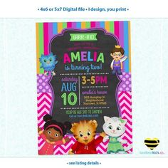 Daniel Tiger Invitation for Girls, Colorful Pink & Purple, I Design You Print • Style #013