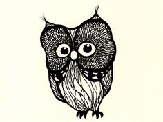 'My Owl' by Kilian Feller (what a cute lil' guy) Black And White Owl, Nocturnal Birds, Owl Watercolor, By Kilian, Funny Owls, Owl Illustration, Scratch Art, Owl Always Love You, Vintage Owl