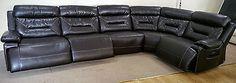 Dark Brown Leather elec rec 5pc Curved Corner (24) £1199