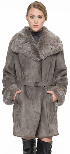 Adelaqueen Women's Faux Suede Lapel Coat with Real Rabbit Fur Collar & Cuffs
