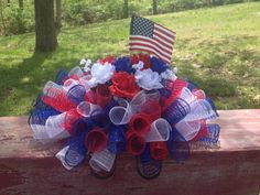 Patriotic Headstone Gravestone or Mailbox Saddle Red White and Blue Memorial Day Fourth of July Decoration on Etsy, $45.00