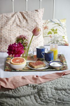 Breakfast in Bed - Mothers Day, flowers and tea. Photo by Nick Steever, Styling Abby Walton