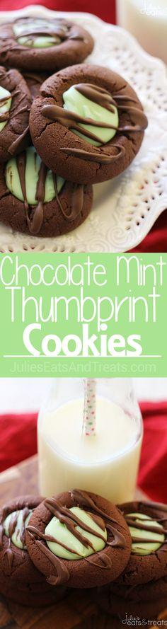 Chocolate Mint Fudge Thumbprint Cookies ~ Soft Chocolate Thumbprint Cookies Stuffed with Mint Fudge! via @julieseats