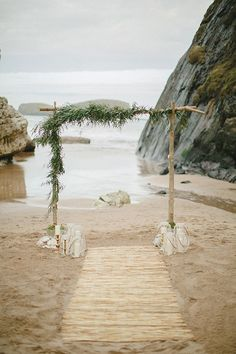 7 Traditional And Modern Wedding Ceremony Ideas For Your Wedding 18 Picture-Perfect Wedding Ceremony Altar Ideas ❤ See more: www. Wedding Ceremony Ideas, Wedding Arch Greenery, Beach Wedding Aisles, Bohemian Beach Wedding, Beach Wedding Inspiration, Beach Ceremony, Beach Wedding Decorations, Wedding Arches, Simple Wedding Arch