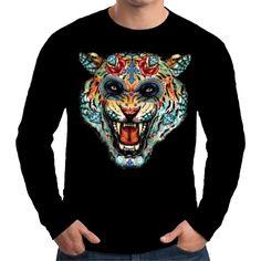 Velocitee Mens Long Sleeve T Shirt Tiger Tattoo Face Fashion Hardy Jerry W17021 #Velocitee