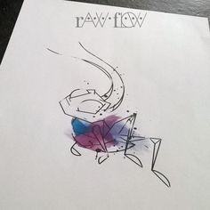 Mulan Cricket watercolor geometric tattoo