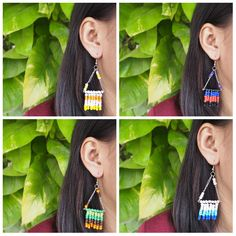 bead earrings/ drop and dangle earrings/ bead colorful earrings/ chain earrings with your selection color by ommiesukkho on Etsy