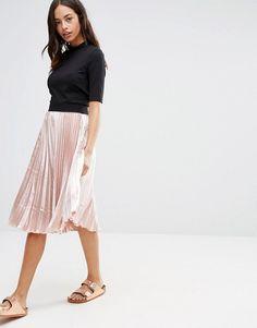 New Look - Satin Pleat Midi Skirt | ASOS