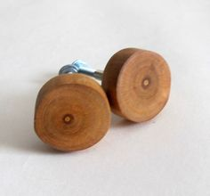 Rustic Drawer Knobs, Set of 2 Wood Cabinet Knobs  This handmade wooden knobs are made from solid wood. Each knob has a screw for attaching.  SIZE: diameter approx 2.8 cm (1.1), high of one handle - 4 cm (1.57).    Each set is unique.  All items are an eco- friendly products with a natural material - the texture of this wood is all natural. The items are made without any decorations to even more show real beauty of the material. They were processed with oil. The wood used in the product is…