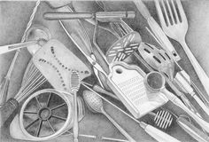 Kitchen Tools by Ferris Cook Jim Dine, Architecture Portfolio, Everyday Objects, Cooking Tools, Kitchen Tools, Kitchen Ideas, Utensils, Light In The Dark, Kitchen Design