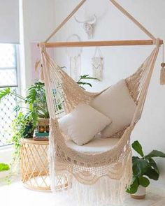Maldives Hammock Chair - Relax outdoors or indoors in these gorgeous hand made crochet hammock chairs. You will feel like yo - Hammock In Bedroom, Diy Hammock, Backyard Hammock, Bedroom Chair, Hammock Ideas, Hammocks, Indoor Hammock Chair, Chair Yoga, Living Room Hammock