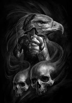 Warrior More Skull Tattoos, Body Art Tattoos, Tattoo Drawings, Sleeve Tattoos, Gladiator Tattoo, Warrior Tattoos, Viking Tattoos, Dark Fantasy Art, Dark Art