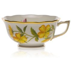 Herend Yellow American Wildflowers Tea Cup ($225) ❤ liked on Polyvore featuring home, kitchen & dining, drinkware, yellow, yellow tea cup and herend