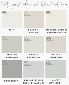 Best Paint Colors to Use in a Transitional Home When designing your house, you need to think about the longevity of the wall color. These are the best paint colors to use in a transitional home. Indoor Paint Colors, Hallway Paint Colors, Best Paint Colors, Interior Paint Colors, Paint Colors For Home, House Paint Interior, Interior Color Schemes, Paint Colors For Kitchen, Hgtv Paint Colors