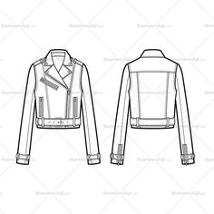 Buckle Detail Cropped Moto Jacket Flat Template - Another! Fashion Sketch Template, Fashion Templates, Fashion Design Jobs, Fashion Design Sketches, Jacket Drawing, Flat Drawings, Illustration Mode, Clothing Sketches, Fashion Portfolio