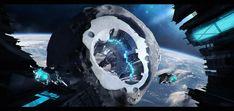 Asteroid Station, Maciej Drabik on ArtStation at https://www.artstation.com/artwork/aYYm9