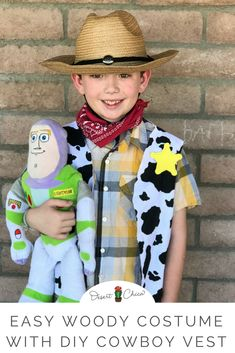 Ready to disneybound or dress up as Toy Story characters for Halloween? Check out this easy Woody costume idea including a homemade cowboy woody vest. Homemade Costumes, Homemade Toys, Diy Halloween Costumes, Sewing Toys, Baby Sewing, Woody Costume, Toy Story Costumes, Character Costumes, New Toy Story