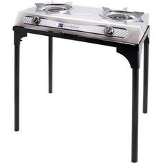Stansport 2 burner stainless steel stove with stand is perfect for camping and tailgating. High efficiency cast burners with rotary flame produce BTU's. Stainless steel body and removable drip rings for easy clean up. Piezo ignition for matchless