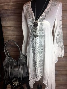 White Cotton Dress / Shirt with Grey Accents                                                                                                                                                                                 More