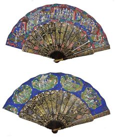 Antique hand painted silk chinese Fans ... ABANICO CANTONÉS SIGLO XIX