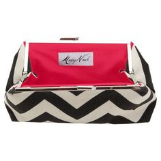 black chevron clutch with hot pink lining on joss + main today