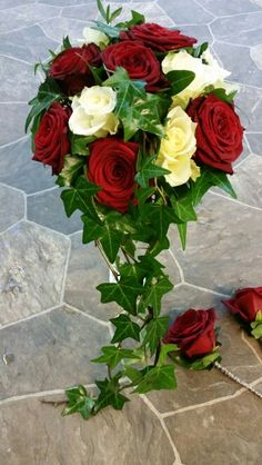 Bridal bouquet, red & white roses