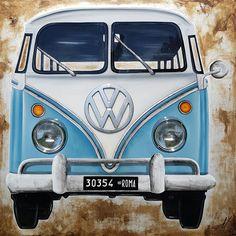 """Bulli Vintage"" mixed media on canvas 150x150 cm # www.monicasali.it"