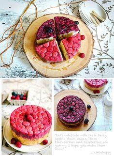 Raspberry & Blackberry almond upside down cakes - fancy-edibles.com