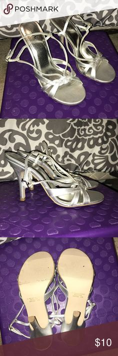 Mossimo Silver Heels Worn only a few times.  Great dress up shoes. Size 8.5M. Fit like an 8 Mossimo Supply Co Shoes Heels