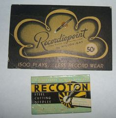Lot of 2 Recordiopoint and Recotron Phonograph Needles circa 1950