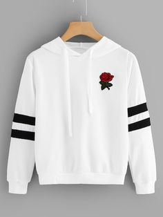 To find out about the Rose Patched Striped Sleeve Drawstring Hoodie at SHEIN, part of our latest Sweatshirts ready to shop online today! Crop Pullover, Sweatshirt Dress, Sweater Hoodie, Hoodie Sweatshirts, Jugend Mode Outfits, Winter Dress Outfits, Outfit Winter, Teen Fashion Outfits, Fashion Shirts