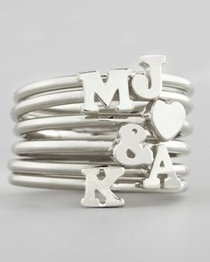Silver Stackable Initial Ring by Sarah Chloe at Neiman Marcus.