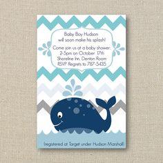 Whale Baby Shower Invitation - a Splash of Boy Blue Chevron Digital Printable File