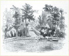 1839, Freguesia das Furnas, Ilha de São Miguel   - Gravura com a casa de Thomas Hickling no Vale das Furnas.