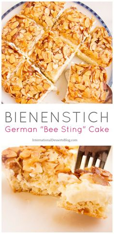 """I love this creamy, crunchy honey almond German """"Bee Sting Cake""""! Traditional German Desserts, Traditional Cakes, Baking Recipes, Cake Recipes, Dessert Recipes, Pastries Recipes, Bienenstich Cake, German Bee Sting Cake, Duncan"""