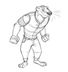 Anthro Badger Sketch by Temiree.deviantart.com on @deviantART Heyyyy guys, here's a random sketch from last night that I did. I wanted to practice proportions, and I went drawing a top-heavy, strong looking character. I'm pretty happy with it.