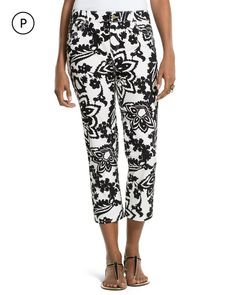 Chico's Women's So Lifting Petite Abstract Floral Crop Pants
