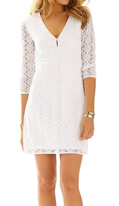 Lilly Pulitzer Lamora Long Sleeve Lace Tunic Dress in Resort White