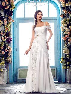 Lan Ting A-line Plus Sizes Wedding Dress - Ivory Sweep/Brush Train One Shoulder Chiffon - USD $119.99