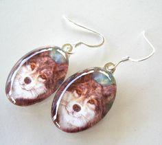 Timber Wolf Earrings School Mascot Art Glass by AllKindsofArt, $23.00