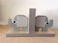 Elephant Bookends Gray Elephant Nursery by MapleShadeKids on Etsy