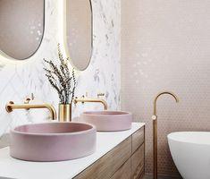 Bathroom interior 439663982368306949 - bathroom inspiration design, light pink bathroom, pink basin, vanity designs Source by Pink Tiles, Grey Tiles, White Tiles, Bad Inspiration, Interior Inspiration, Contemporary Bathroom Inspiration, Spiritual Inspiration, Writing Inspiration, Motivation Inspiration