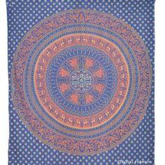 Blue Elephant  Bird Paradise Hippie Mandala Indian Tapestry Wall Hanging on RoyalFurnish.com, $22.99