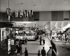 "1958. ""Harundale Mall, Glen Burnie, Maryland. Interior view."" The first enclosed shopping center on the East Coast."